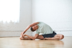 Revolved head to knee pose