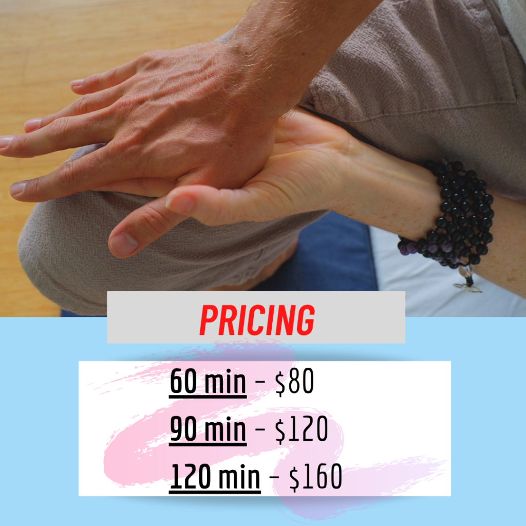 Cost of a Thai massage and bodywork session as of 2021 in Chicago Illinois with Pierce Doerr