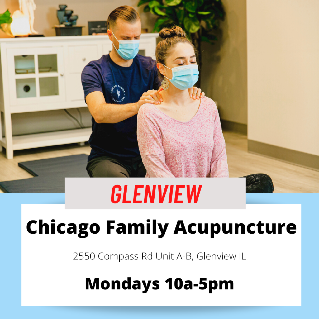 Licensed massage therapist Pierce Doerr with small business owner Dr. Zahava Berkowicz of chicago family acupuncture in Glenview Illinois, a northshore suburb providing women's health pain management and health and wellness